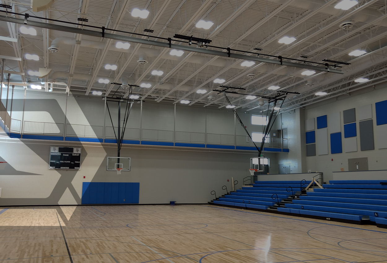 Exposed Ductwork in Aux Gym