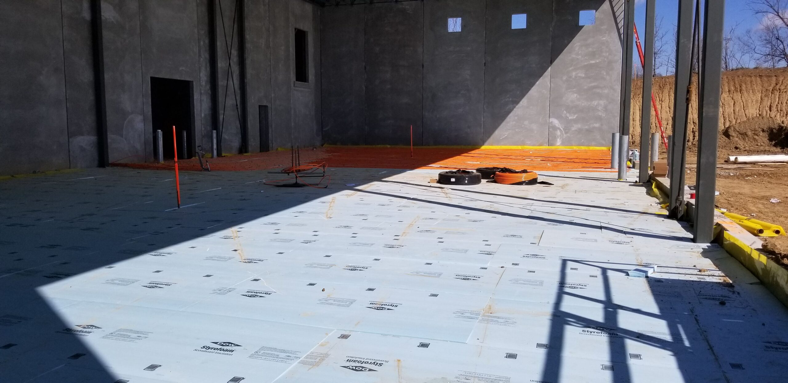 Quin Global New Construction warehouse in floor heating