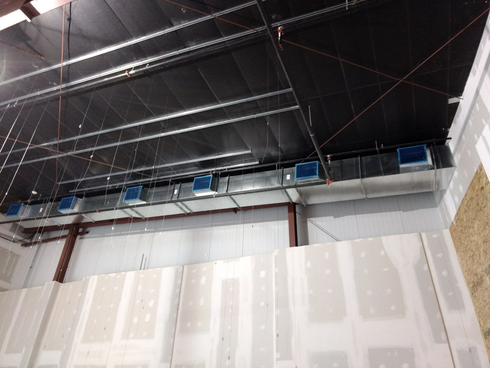 Ductwork Hung - HVAC Project at Water's Edge Church in Omaha - New Construction