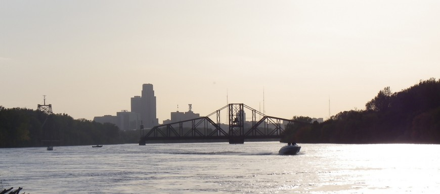 view of downtown Omaha, or the original part of Omaha, from the Council Bluffs IA side of the missouri river