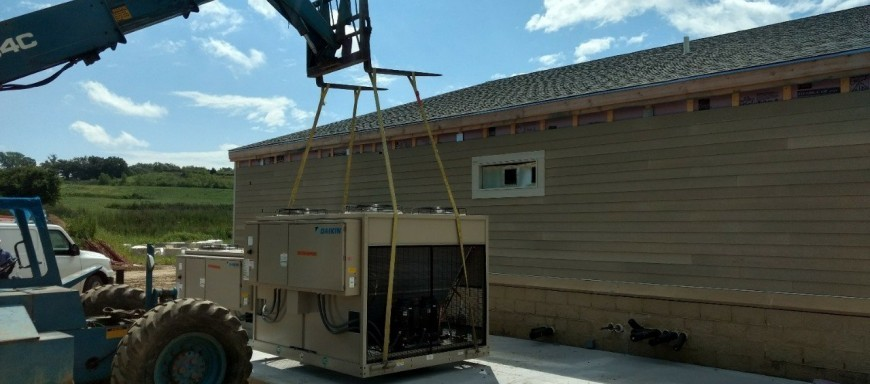 HVAC Installation Setting air handlers at St. Patrick's church in Council Bluffs